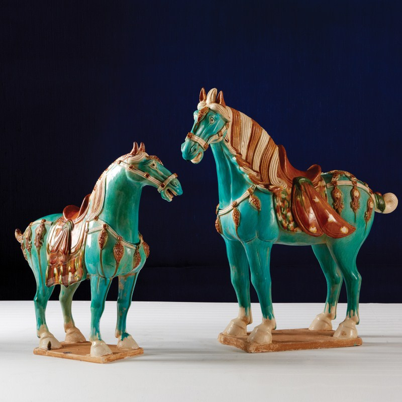Turquoise Tang Horses Ceramic