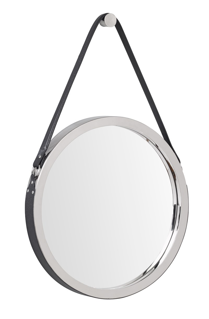 BLACK LEATHER FRAME MIRROR BY M2