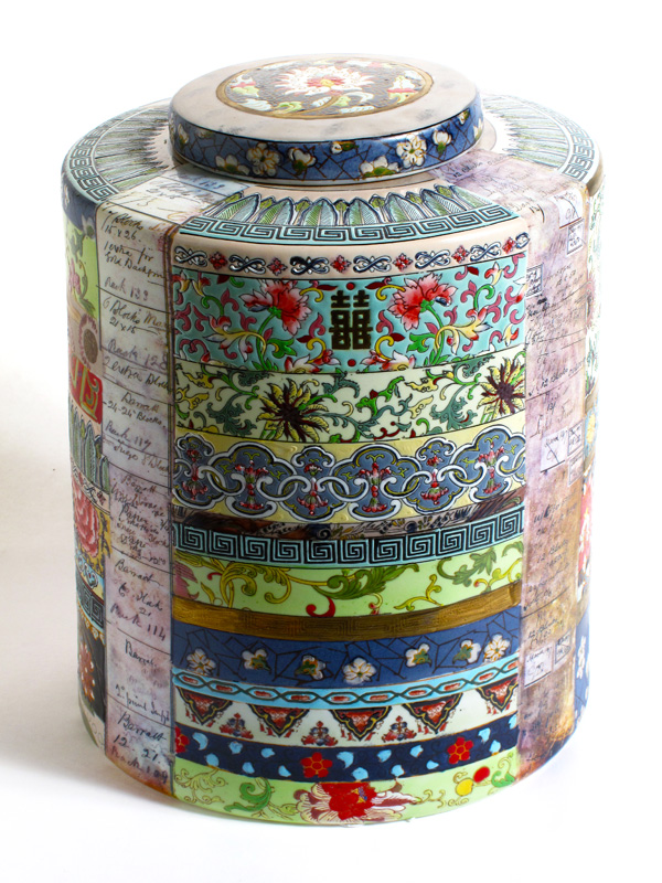 Floral Ribbon Jar