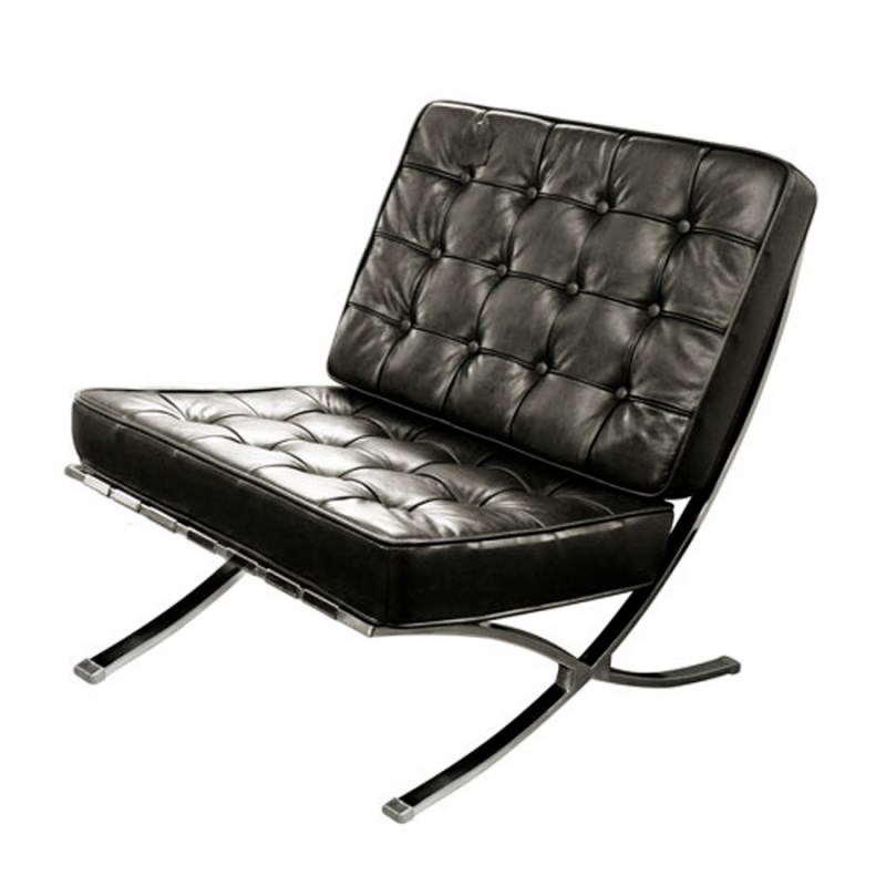 Artsome Decgan Black Leather Arm Chair