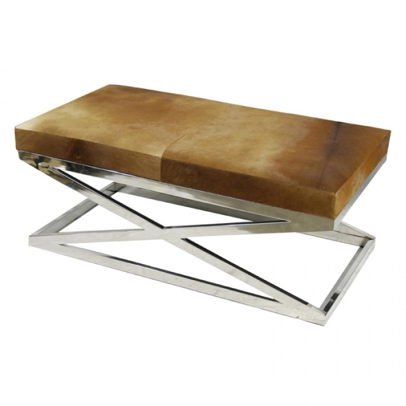Zhari Cowhide Big Bench Brown