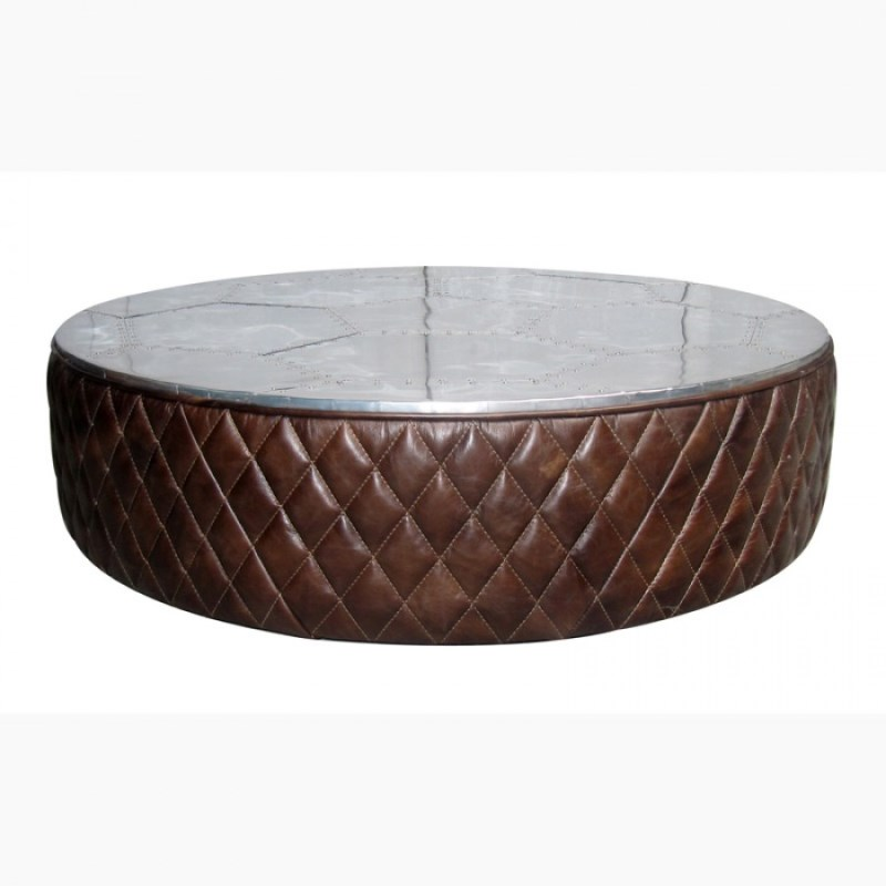 Artsome Round Leather Aluminum Coffee Table