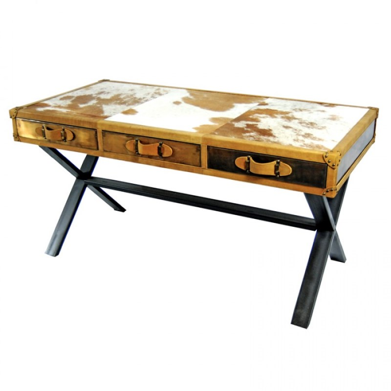 Zhari Cowhide Writing Desk