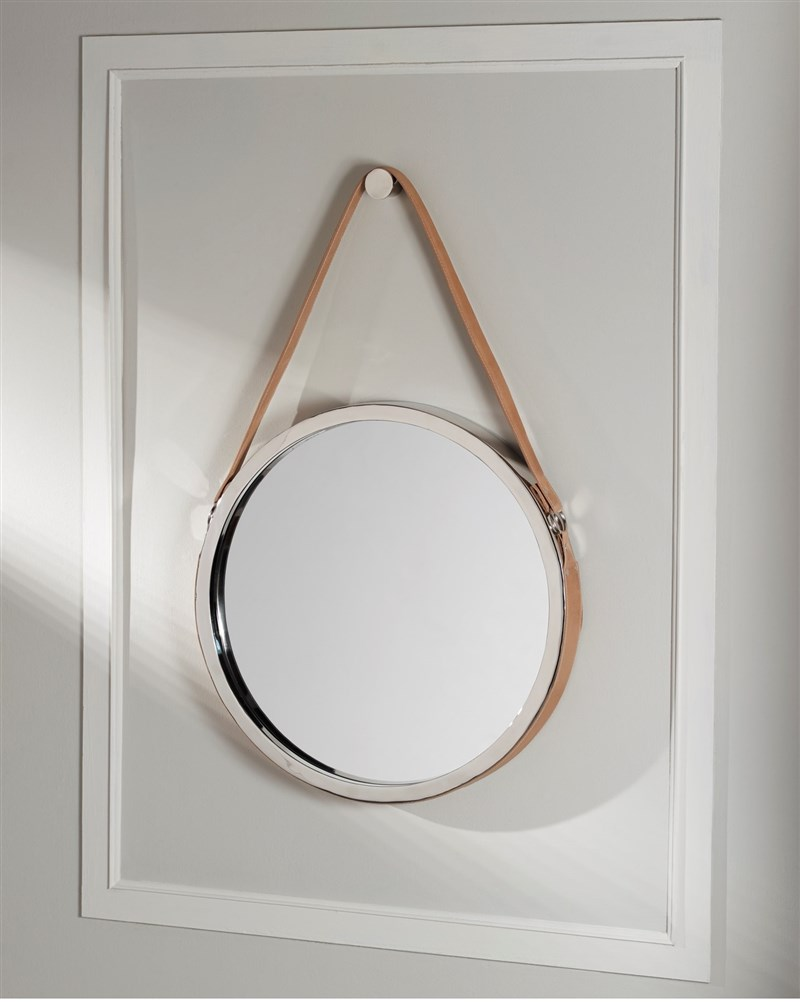TAN LEATHER FRAME MIRROR by M2