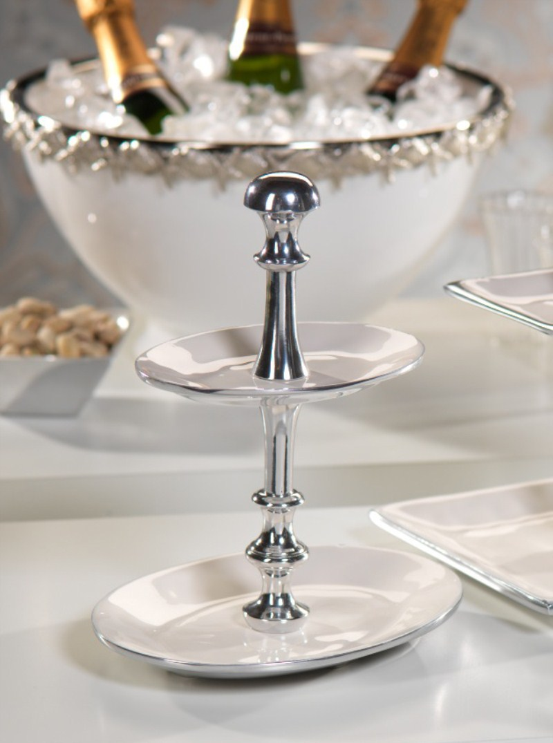 Oval Two Tier Polished Aluminum and Enamel Server by Zodax