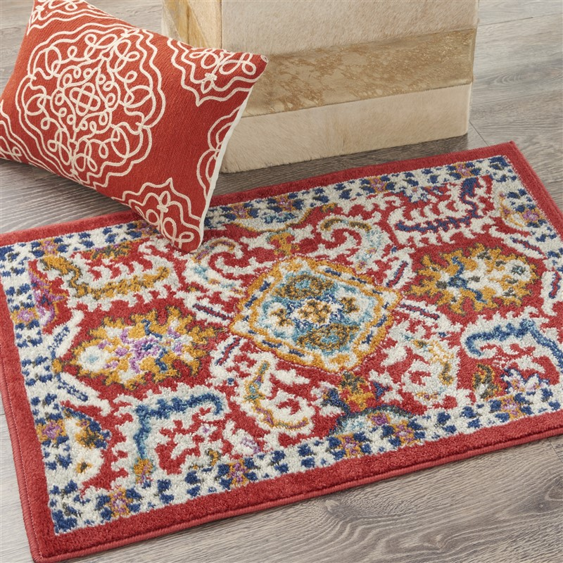 Nourison Passion Transitional Red Multi Colored Rug PSN32